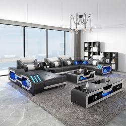 Coupe moderne européen Salle de séjour de loisirs Accueil Mobilier forme en U canapé en cuir véritable jeu de table avec des voyants LED