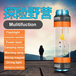 Het multifunctionele Navulbare LEIDENE Flitslicht van de Noodsituatie met het Kamperen van de Lamp USB van de Mug van de Bank van de Macht Afstotende Lamp