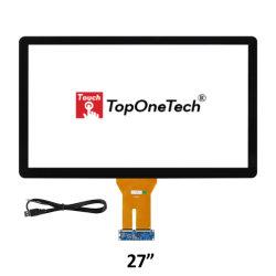 SKD CKD CBU防眩センサーガラスが付いている正確な応答の容量性タッチスクリーンの27インチの16:9 IPS LCD LEDのキオスクのモニタの表示モジュールの空気光学担保付き