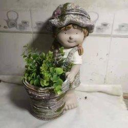 Commerce de gros oxyde de magnésium MGO fille Pot de fleur décorative du semoir