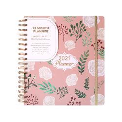 Impresión personalizada 2021 Hardcoverb5 A5 papel espiral Cuaderno Diario Oficial de programa a Diario Semanal Mensual Planificador del organizador portátil