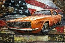 La Decoración de pared Metal Pintura Arte coche viejo mapa de América con el hierro de dimensión 3D