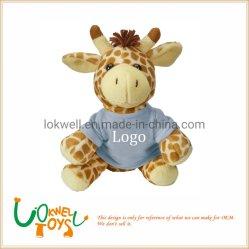 Giraffe animal en peluche jouets en peluche avec T- shirt Logo imprimé