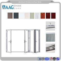 Зерно из светлого дерева и порошковым покрытием из алюминия и складывания правой и левой боковой сдвижной двери с внутренней и наружной типа