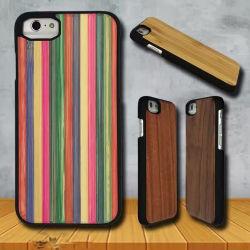 Natuurlijke Houten iPhone 7 6 Gevallen met Met rubber bekleede PC Basis
