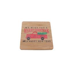 Настраиваемые квадратных бамбук Coaster набор с цветной печати логотип для рождественских подарков