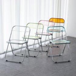 Design moderno serviço de dobragem de acrílico transparente em plástico/jantar/home/Hotel cadeira de metal em muitas opções de cores
