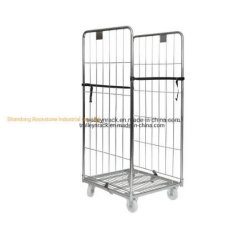 2 Lados desmontáveis galvanizado padrão de segurança dobrável para o aninhamento de malha metálica Roll cage Palete de contentores para a União Supermercado