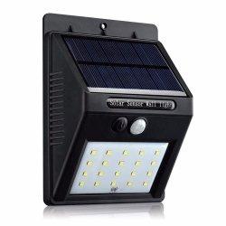 Simva 20LED der Sonnenenergie-PIR Bewegungs-Fühler-Wand-Licht Wand-Lampen-der Batterie-20 LED, Sonnenkollektor-Energien-Gatter-Licht-Wand-Lampe, Solarlicht für Garten-im Freientreppe