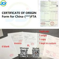 Certificado de origem - Formulário para a China - Chile/Arábia Saudita/Vietname/