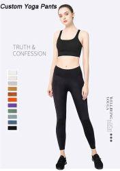 Caliente de venta al por mayor nuevo diseño de logotipo personalizado Spandex Tejido de nylon mujeres pantalón de Yoga