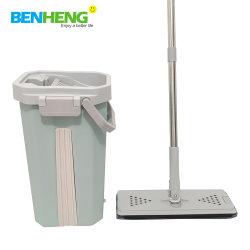 Benheng esfregona plana de esfregona com caçamba com raspador rodo esfregona em microfibra Lazy Spin Mop Magic