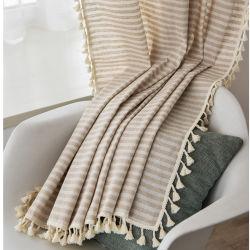 Постельное белье из хлопка бежевый полосой Tassel шторки стиль окна висящих светонепроницаемые шторы для гостиной легко салфетка для стекла