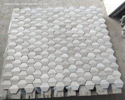 Madera blanca Serpeggiante hexagonal de mármol del mosaico en 3D Diseño de la pared paneles Backsplash baldosas