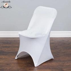 Heiß-Verkauf China-Fabrik-Hochzeits-Lieferantweißer faltender Spandex-Stuhl-Deckel