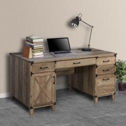 Muebles de oficina en casa rústica de madera color roble mesa pedestal