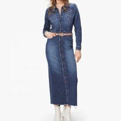 قميص مثير طويل الأكمام يرفع المرأة جين دريسز دنيم تنورة وأناقة سيدة غير رسمية فساتين مع جيب