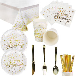 Gold Star Disposable Paper Plates Cups Straw en Napkins