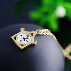 الياقة عقد مع النساء ، مصنع مجوهرات الفولاذ المقاوم للصدأ مصنع ، ساعة منبه صغيرة مبتكرة بندول
