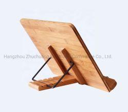 대나무 Foldable와 조정가능한 나무로 되는 전시 문서 홀더 책꽂이 독서 나머지 요리사 선반