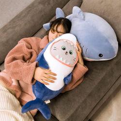 Katze-Gesichts-Haifisch-Plüsch-Spielzeug-Haifisch-Marionetten-Puppe-Geschenk-Kissen