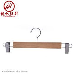 Winsunの金属クリップが付いている固体大人の木のズボンのハンガー