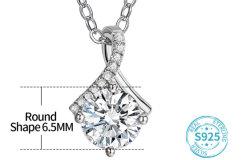 Corte excelente con una buena claridad del color Mozzarete 925 Colgante de plata de la mujer Collar de regalo