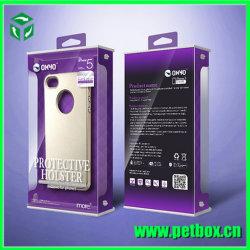 Accessoires de téléphone d'emballage du papier Boîte avec couvercle en plastique transparent avec crochet de suspension
