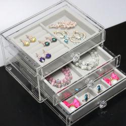 3つの引出し及びビロードの皿が付いているアクリルの宝石類のディスプレイ・ケース