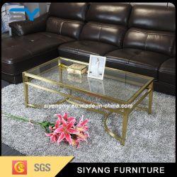Los pies de metal de oro europea acento mesa de café con espejo Tops