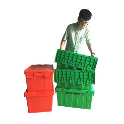 El transporte de la pila de plástico y nidifican moviendo el recipiente con tapa adjunta