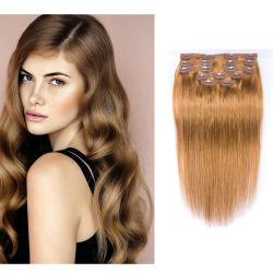 """10""""-22"""" d'épaisseur double trame 80-100g clip dans l'homme Remy Hair Extensions 8 pièces couleur #27"""