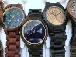Het halfedel Horloge van de Band van Dail van het Horloge van de Halfedelsteen Houten