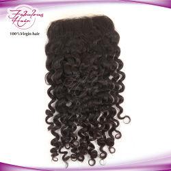 """Rendas peruano de cabelo de fábrica com Base 4"""" x 4"""" curly top Lace Pedaços de encerramento"""