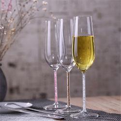Tazza di cristallo di cerimonia nuziale di disegno dei Rhinestones di tostatura di vetro di vino delle scanalature di Champagne del calice cristallino di vetro