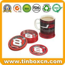 コーヒー、コルクが付いている金属の錫のパッドのための円形の錫のコースター