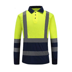 Kundenspezifische Fabrik-direkte preiswerte Leuchtstoff grüne hohe Sicht-neues Produkt-ausgezeichnete Sicherheits-Sicherheits-Polizei-reflektierendes Polo-Hemd