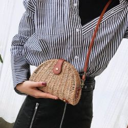 Mini Wholesales Shell señoras bolso de paja de la cadena de papel natural tejida bolsa de playa