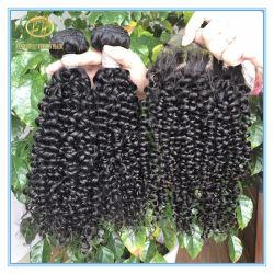 Amplio Stock de calidad superior en Color Natural Jerry Brizilian rizado cabello virgen de la trama con el precio de fábrica Wf-002