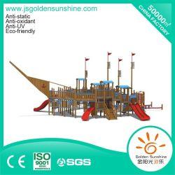 Parque Infantil exterior de equipamento de madeira deslize para crianças e crianças (um-115-2)