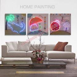 3PCSは光ファイバ(ないLED)明るい絵画遠隔コントローラが付いている現代ホーム装飾の絵画をセットする