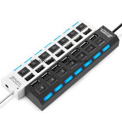 Multi 7 ports hub USB 2.0 haute vitesse 480 Mbit/s Hub USB Commutateur on/off répartiteur USB portable Périphériques Accessoires pour ordinateur PC
