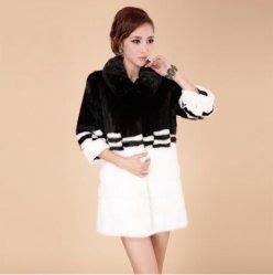 Moda japonesa largo abrigo de piel de visón Faux Fur abrigo Chaqueta de invierno de la mujer de color blanco y negro caliente en invierno ropa de abrigo de piel delgada