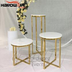 De partij Gebruikte Decor Aangepaste Gouden Lijst van de Cake van het Huwelijk van de Vertoning van het Metaal Marmeren Hoogste