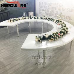 Design de luxo Half Moon ferro branco com mesa de casamento de MDF