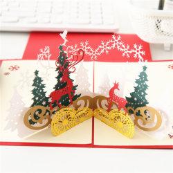 Comercio al por mayor de vacaciones con corte láser emergente Feliz Navidad Tarjetas de Felicitación de Pop-up con sobres