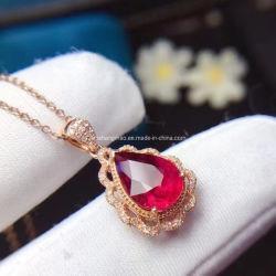 Certificación Natural Rubellita colgante con la moda de joyería de diamantes de Sudáfrica