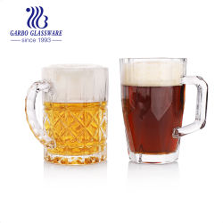 6PCS 맥주잔의 마시는 커피와 우유 차잔 유리 세트를 위한 400ml 새로운 디자인 유리제 찻잔