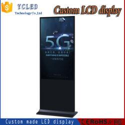 新しい普及した43インチ実質HD TFT LCDスクリーンの人間の特徴をもつデジタル表記の広告媒体LED TVの広告の携帯用デジタルLCDキオスク