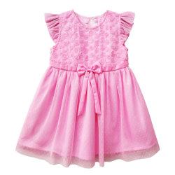 Маленькие девочки платья детей День Рождения одежды для Cute Girl Frock малыша детской одежды Gowns Детский розовый цветок платье девочек шифон кружево Cute дуг платья